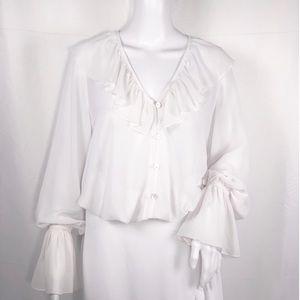 SMY MuMu White V-Neck Button Up Ruffles Blouse SzM